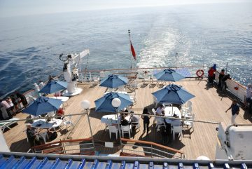 Overlooking the Sundeck on RMS St Helena
